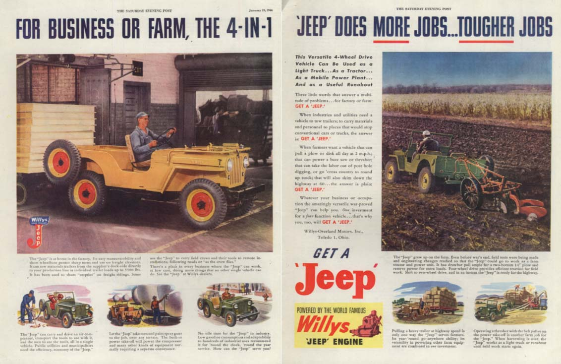Image for For business or farm 4-in1 Jeep does more & tougher jobs ad 1946 SEP