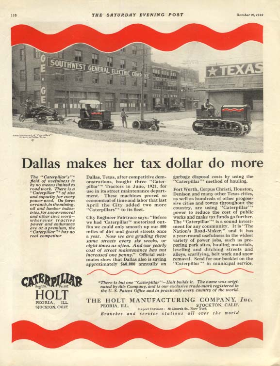 Dallas makes her tax dollar do more Caterpillar Tractor ad 1922 SEP