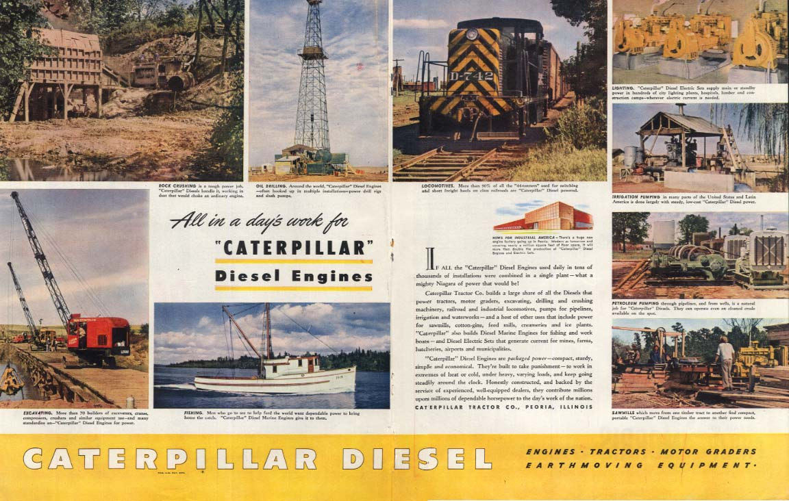All in a day's work for Caterpillar Diesel Engines ad 1946 SEP