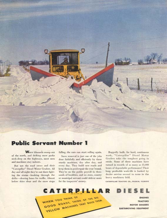 Image for Public Servant Number 1 - Caterpillar Tractor Snowplow ad 1940s