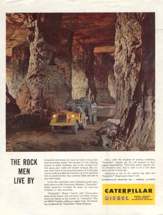 Image for The Rock Men Live By Ste Genevieve Limestone Mine Caterpillar Tractor ad SEP