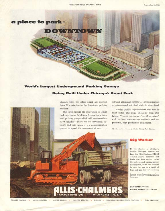 Chicago Grant Park Underground Garage - Allis-Chalmers tractor ad 1953 SEP