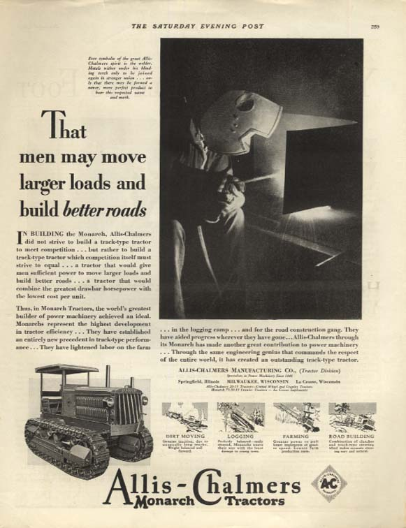 Image for Move larger loads & build better roads Allis-Chalmers Monarch Tractor ad 1929 P
