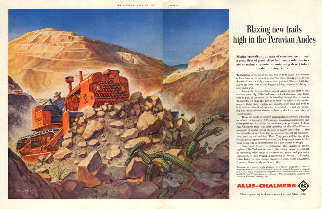 Blazing new trails in Peruvian Andes - Allis-Chalmers Bulldozer ad 1957 SEP