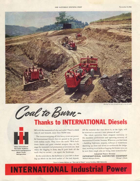 Coal to Burn thanks to International Tractors ad 1946 SEP