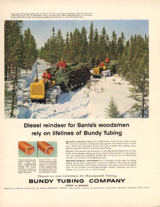 Diesel reindeer for Santa's Woodmen Caterpillar Tractor Bundy Tubing ad 1956 F