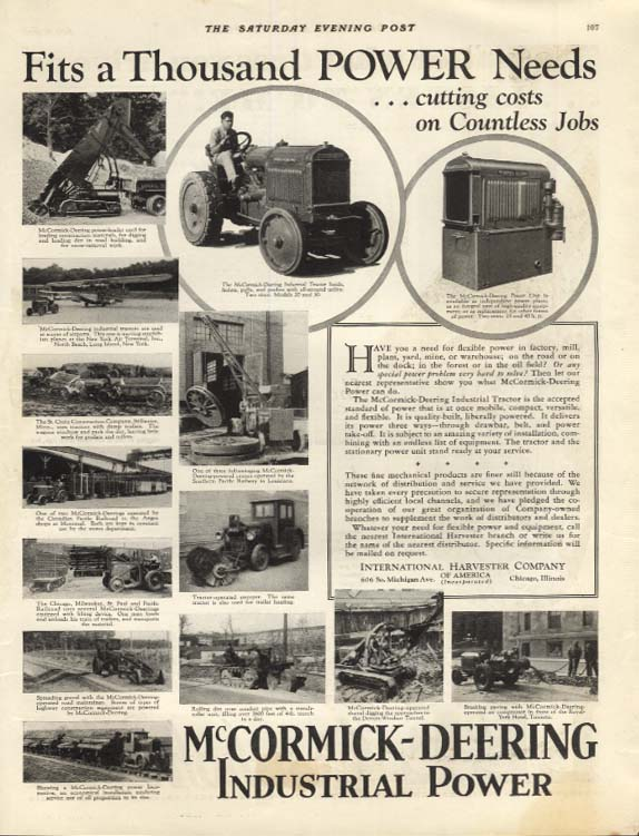 Fit a Thousand POWER Needs - McCormick-Deering Industrial Power ad 1930 SEP