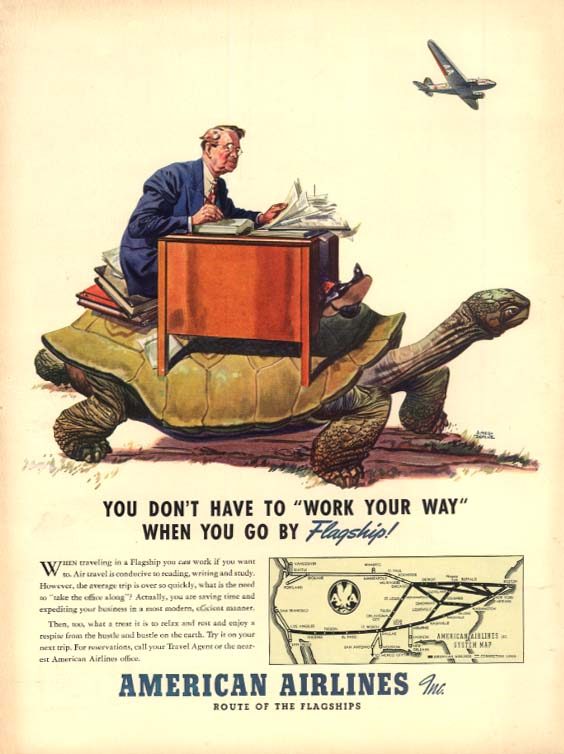 Work Your Way - Go by American Airlines Flagship ad 1940 L Albert Dorne