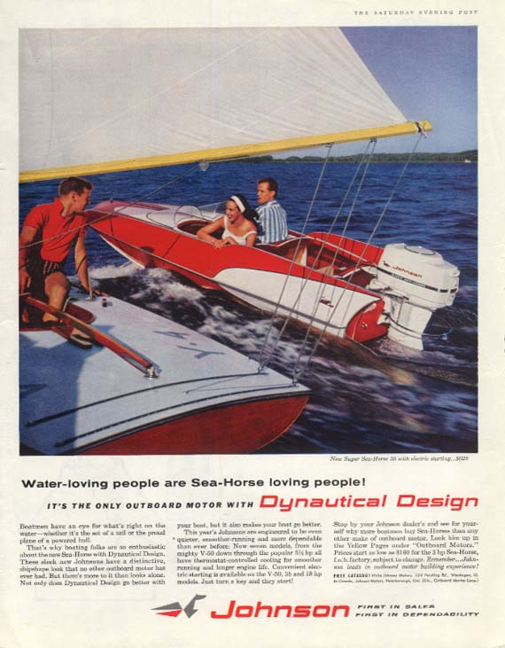 Water-loving people - Johnson Sea-Horse Outboard Motor ad 1959 P