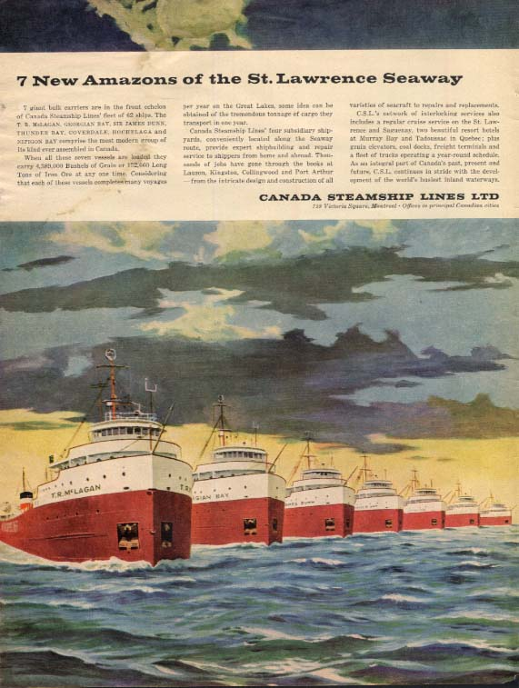 7 New Amazons of the St Lawrence Seaway Canada Steamship Lines ad 1958