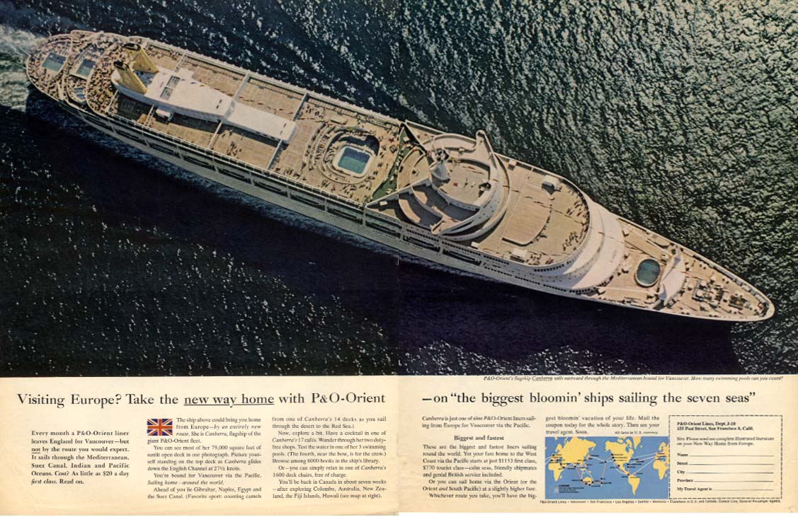 Visiting Europe? P&O-Orient S S Canberra ad 1964