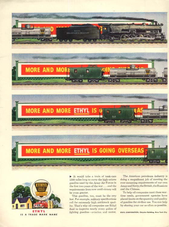 Delaware & Hudson freight train for Ethyl Gasoline ad 1944 L