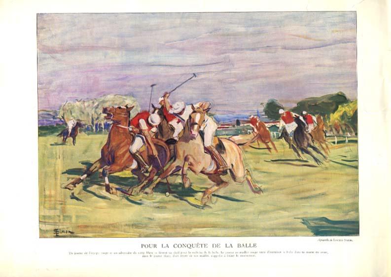 Lucien Simon watercolor magazine page Pour la Conquete de la Balle polo 1934