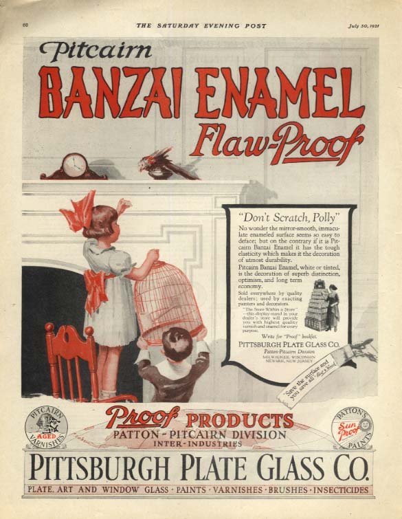 Oitcairn Banzai Enamel Flaw-Proof paint ad 1931 Kids chase escaped parrot