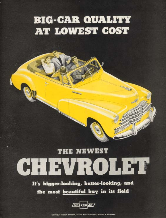 Big-Car Quality at Lowest Cost Chevrolet Convertible ad 1947 SEP
