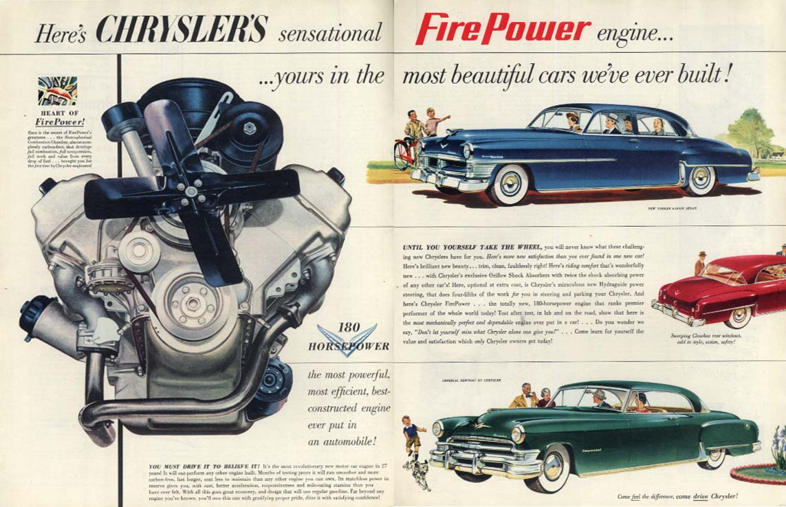 Image for Chrysler's sensatonal Fire Power engine New Yorker & Imperial ad 1951 Col