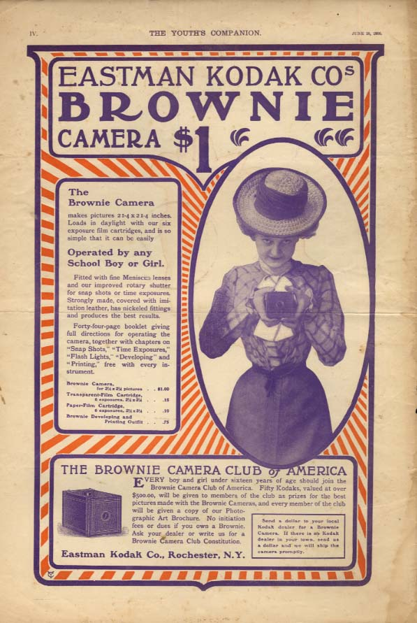 Operated by any School Boy or Girl Eastman Brownie Camera ad 1900