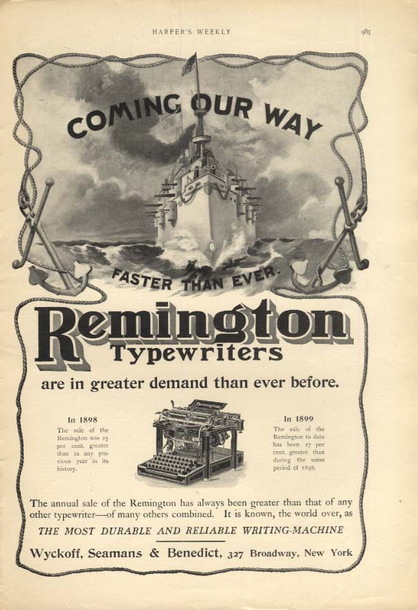 Coming our way faster than ever Remington Typewriter ad 1899 Dewey flagship