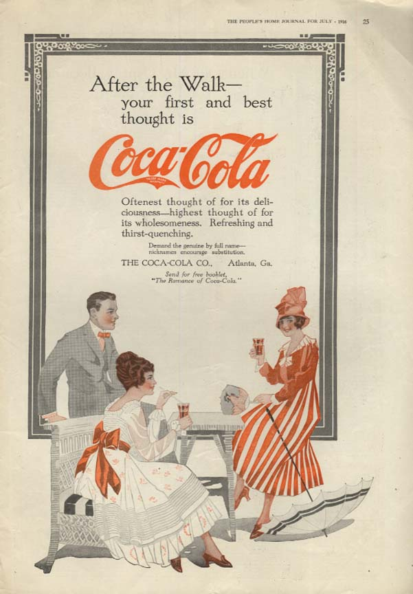 After the Walk your first & best thought is Coca-Cola ad 1916