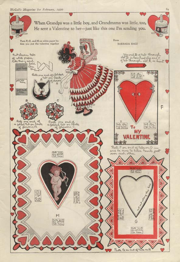 Image for Make your own Valentine cut-out magazine page by Barbara Hale 1920