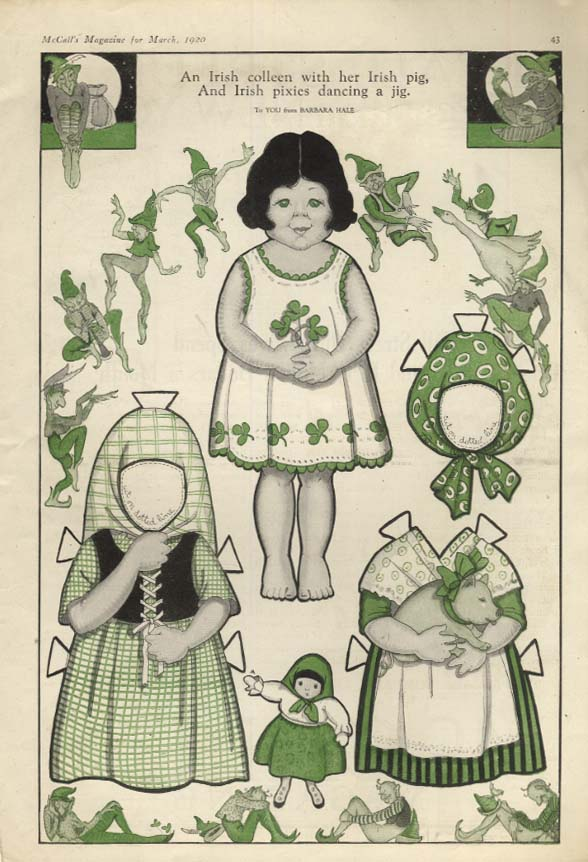 Barbara Hale paper doll page: An Irish colleen with her Irish pig 1920