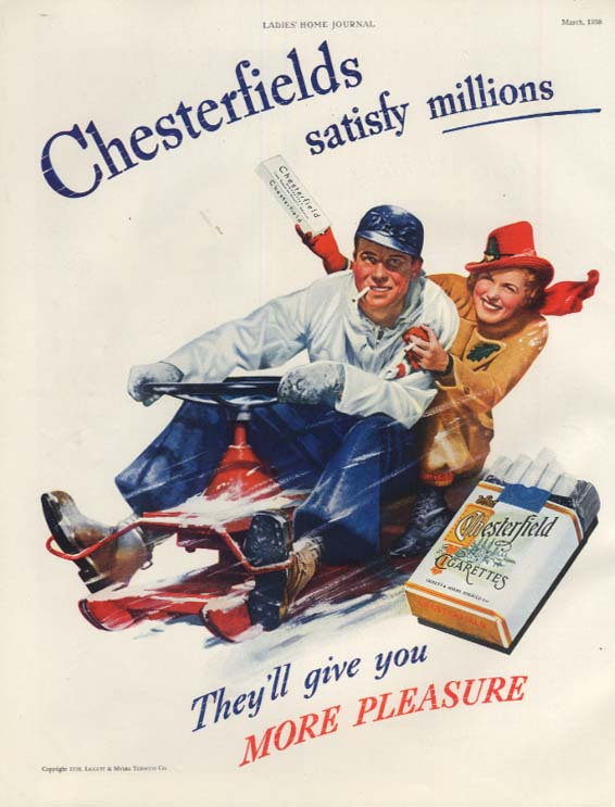 Chesterfield Cigarettes ad 1938 Couple on steerable toboggan LHJ
