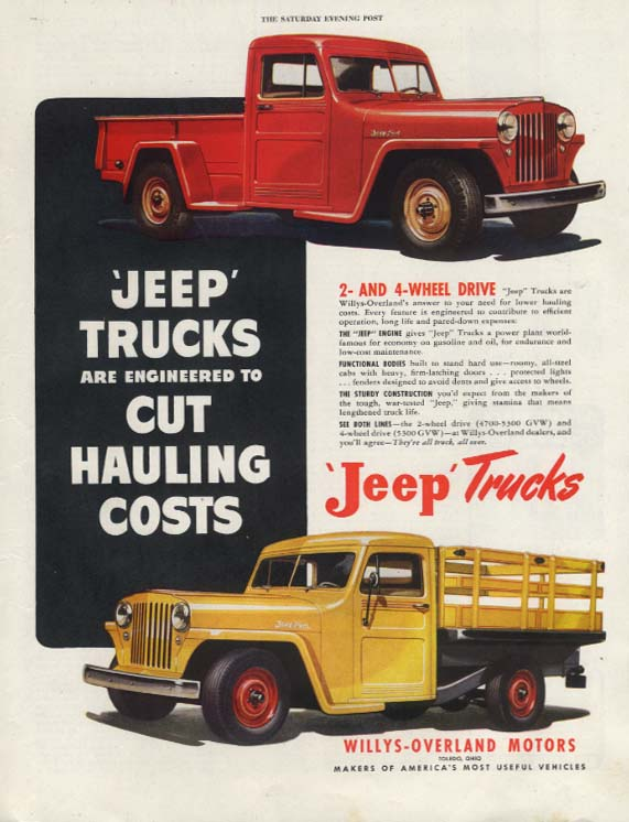 Image for Jeep Trucks Cut Hauling Costs ad 1948 pick-up & stakeside P