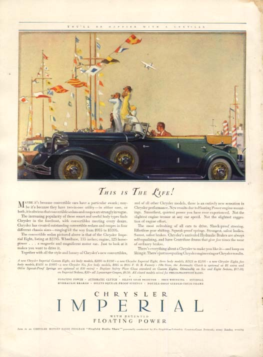 Image for This is The Life! Chrysler Imperial Convertible Sedan ad 1932 HBz