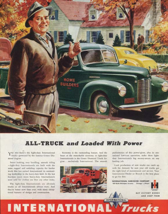 All-Truck and Loaded With Power - International Truck ad 1945 SEP