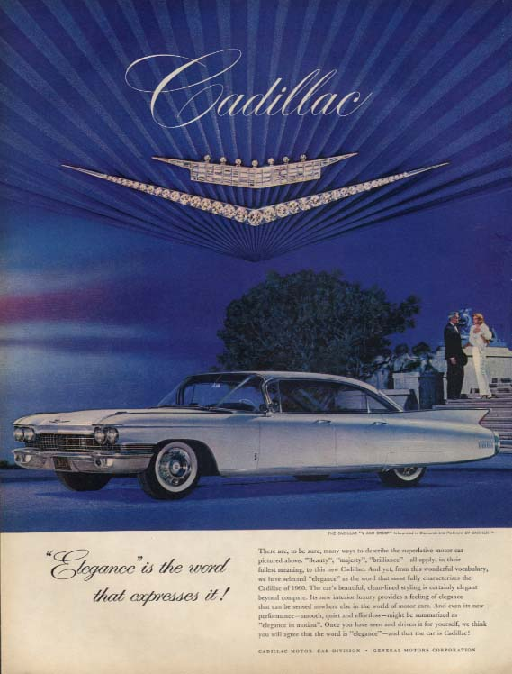 Elegance is the word that expresses it! Cadillac 4-door hardtop ad 1960 L