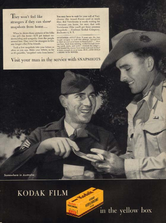 They won't feel like strangers Kodak ad 1945 US & Aussie Soldiers share pics