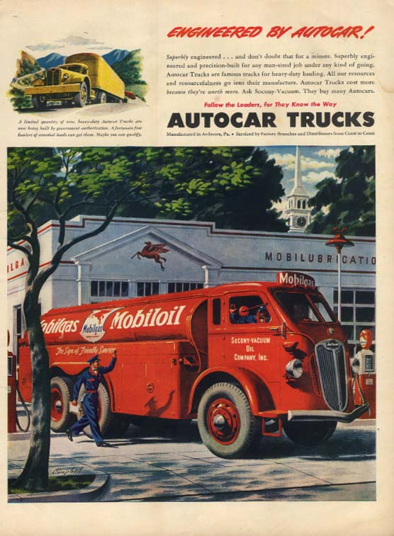 Enginnered by Autocar: Mobilgas Tanker Truck ad 1945 L