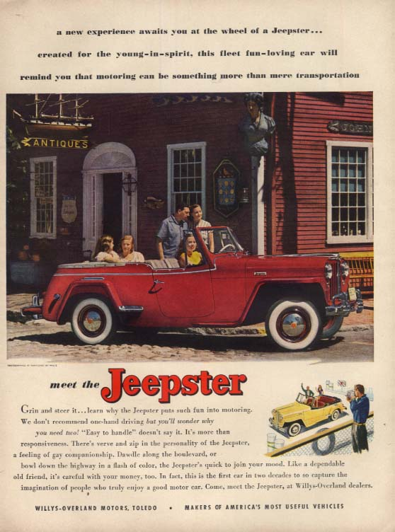 A new experience awaits you at the wheel of a Jeepster ad 1949 L