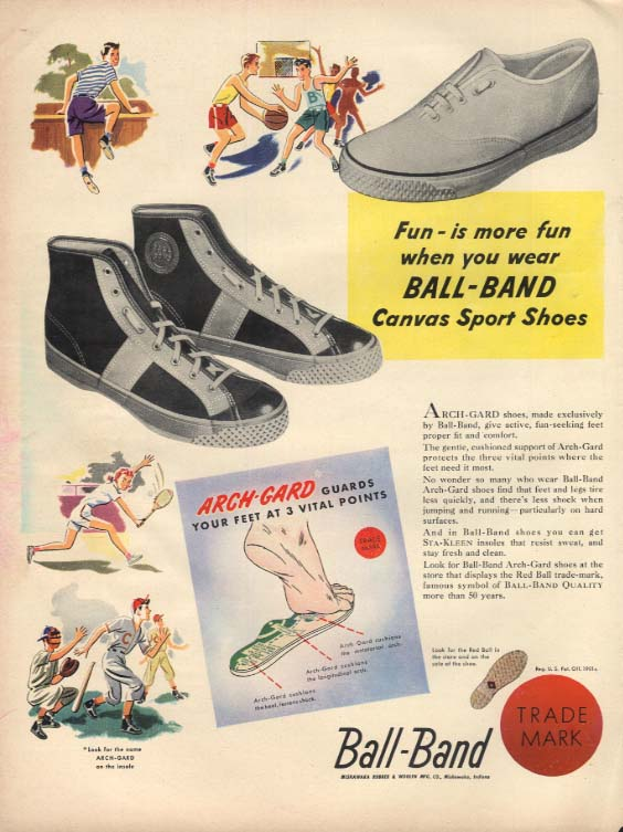 Ball-Brand Canvas Sport Shoes Sneakers ad 1948 L