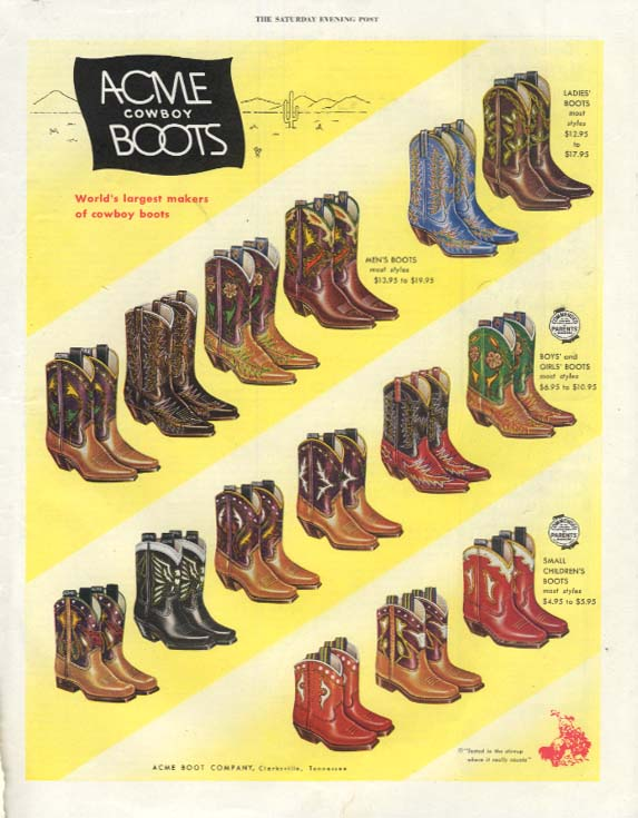 Acme Cowboy Boots for men ladies boys & girls 15 styles ad 1952 SEP