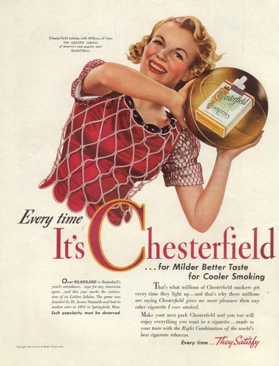Basketball's Golden Jubilee for Chesterfield Cigarettes ad 1942 WNC