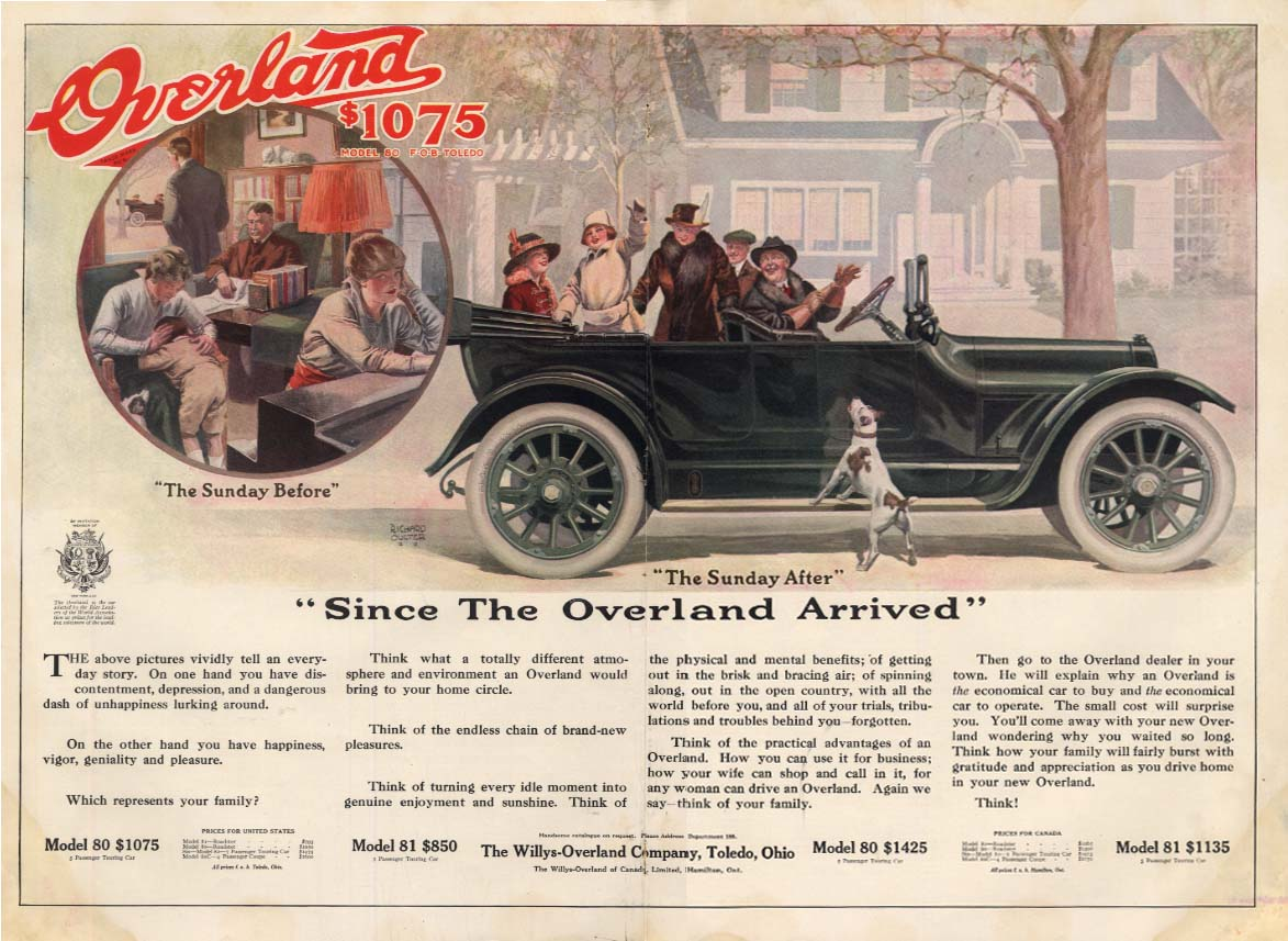 Image for Since the Willys Overland Touring Car Arrived ad 1915 Richard Culter art