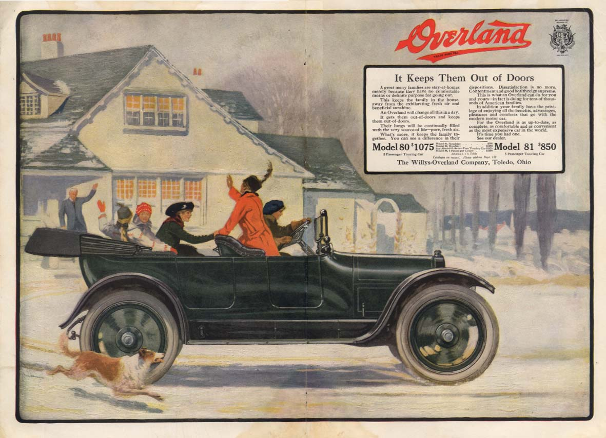 Image for It Keeps Them Out of Doors Willys Overland Touring Car ad 1915