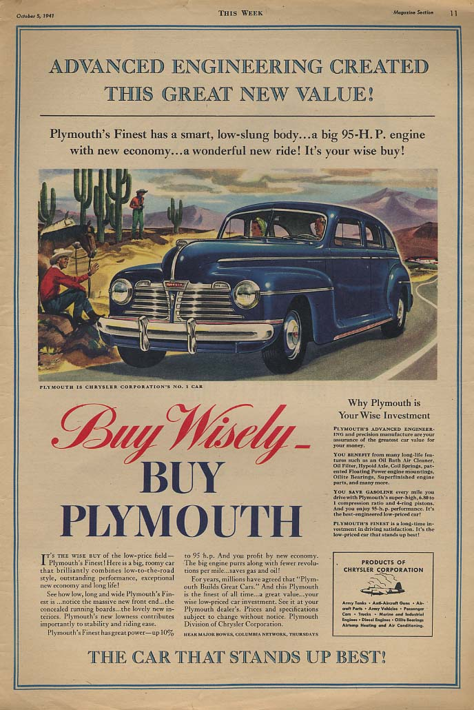Advanced Engineering Created This Great New Value! Plymouth ad 1942