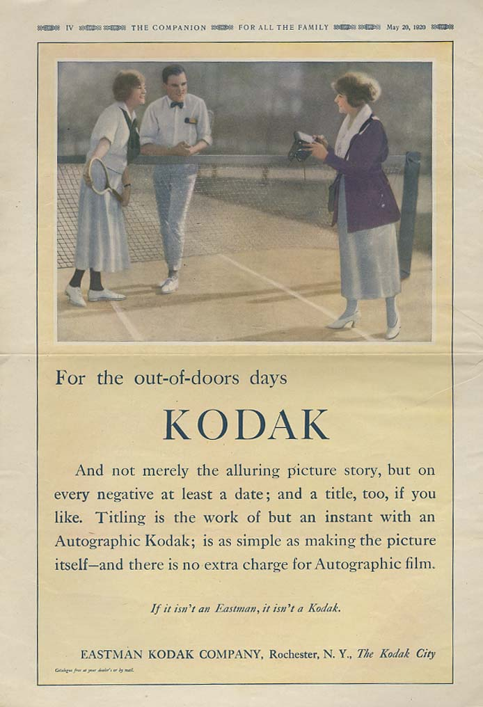 For the out-of-doors - Kodak Camera ad 1920 tennis scene