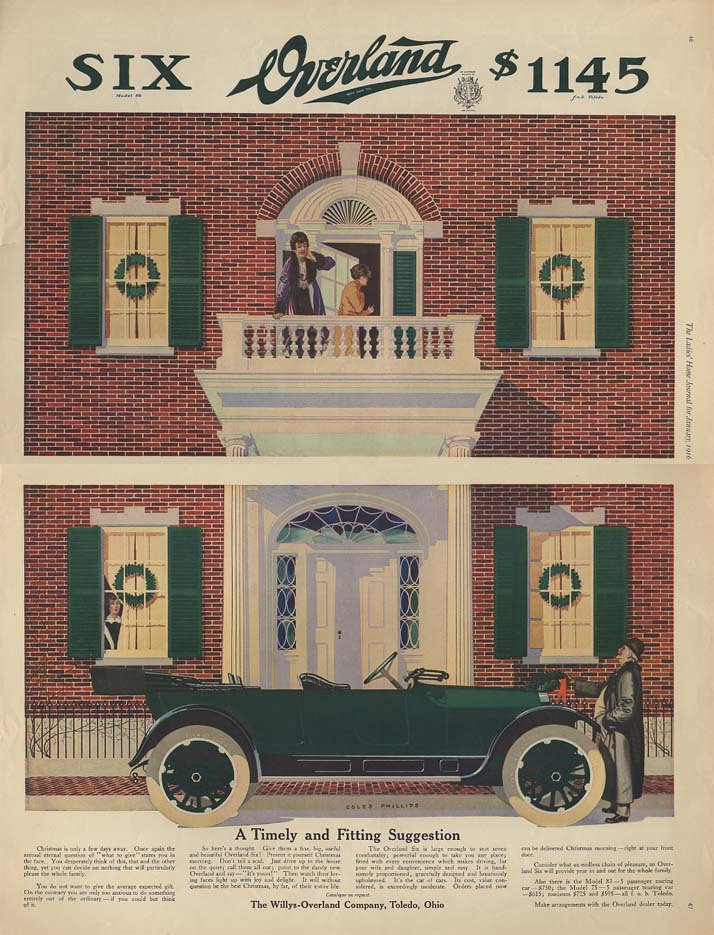 Image for A Timely & Fitting Suggestion - Willys Overland Six for Christmas ad ca 1914