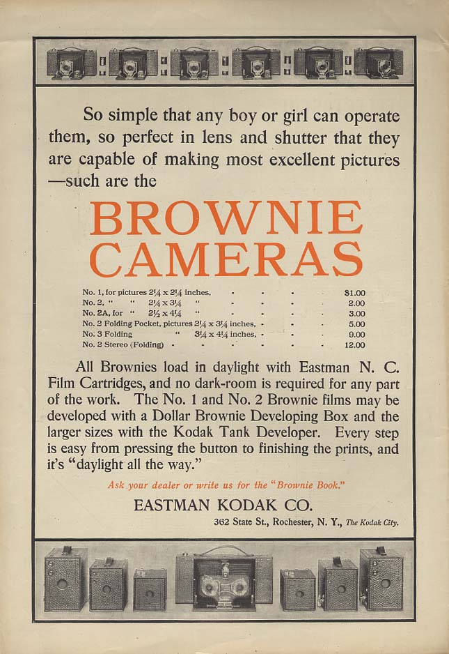 So simple that any boy or girl can operate them Kodak Brownie Camera ad 1907