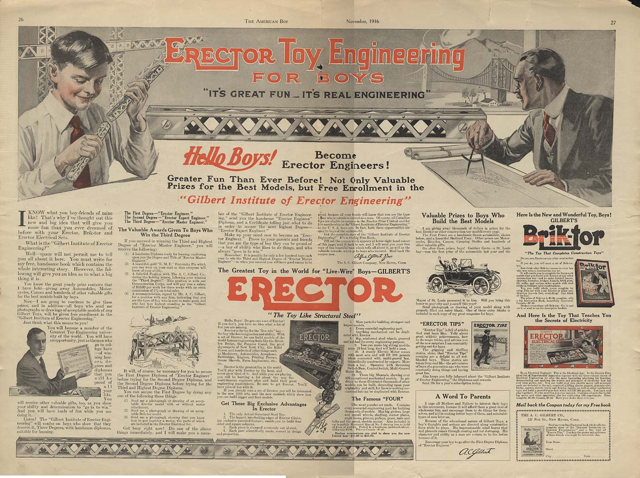 A C Gilbert Erector Toy Engineering for Boys ad 1916