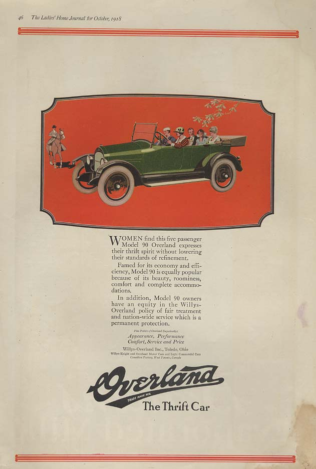 Image for Women find this five passenger Model 90 Overland Touring Car ad 1918 LHJ