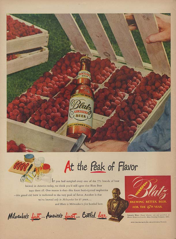 At the Peak of Flavor - Blatz Beer ad 1948 case of fresh raspberries L