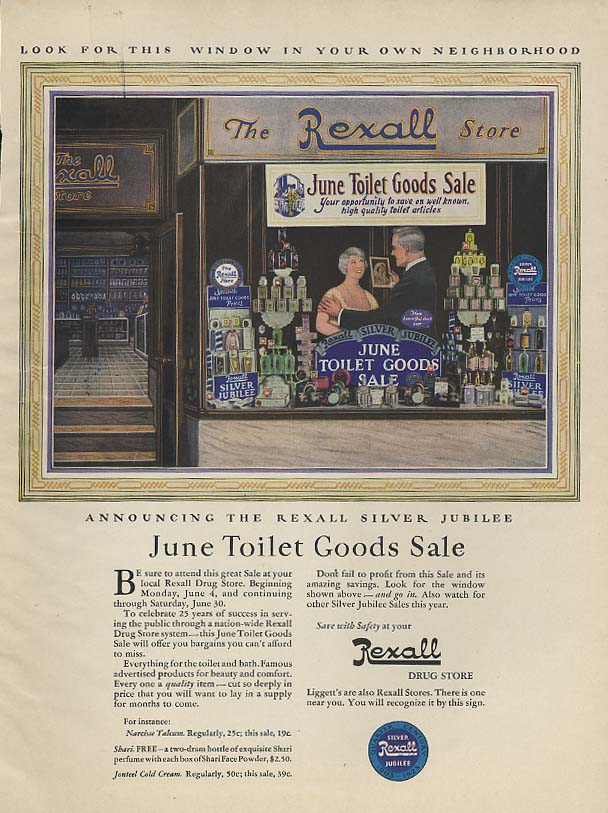 Announcing the Rexall Silver Jubilee June Toilet Goods Sale ad 1928 WHC