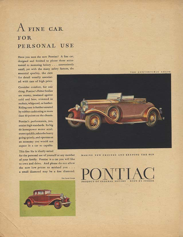 A Fine Car for Personal Use - Pontiac Convertible Coupe ad 1931 F