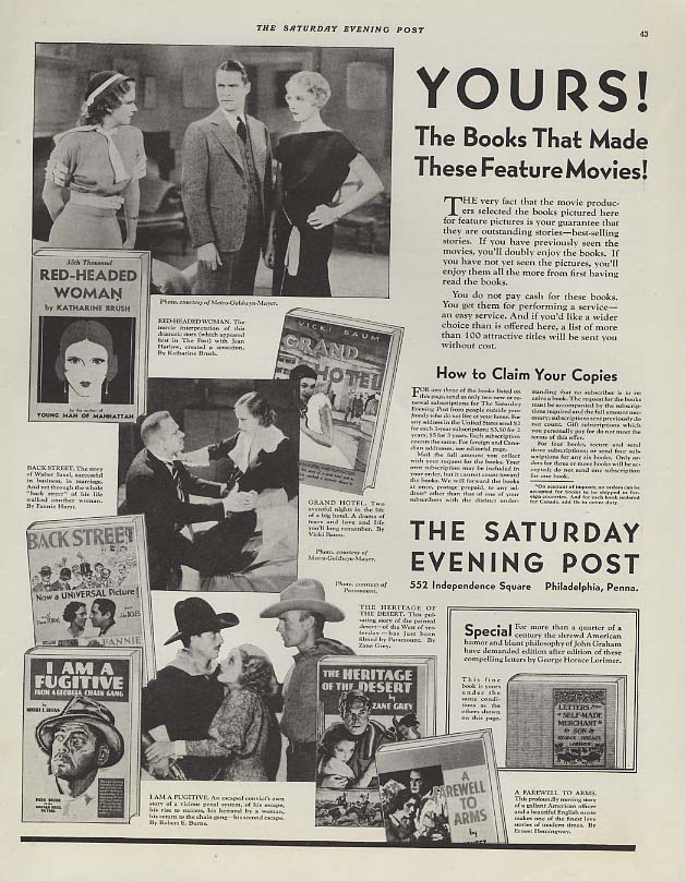 Books That Made Feature Movies Saturday Evening Post ad 1932 Hemingway +