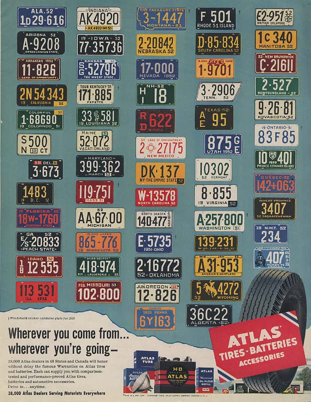 Image for Wherever you come from wherever you're going Atlas Tires license plate ad 1952 C
