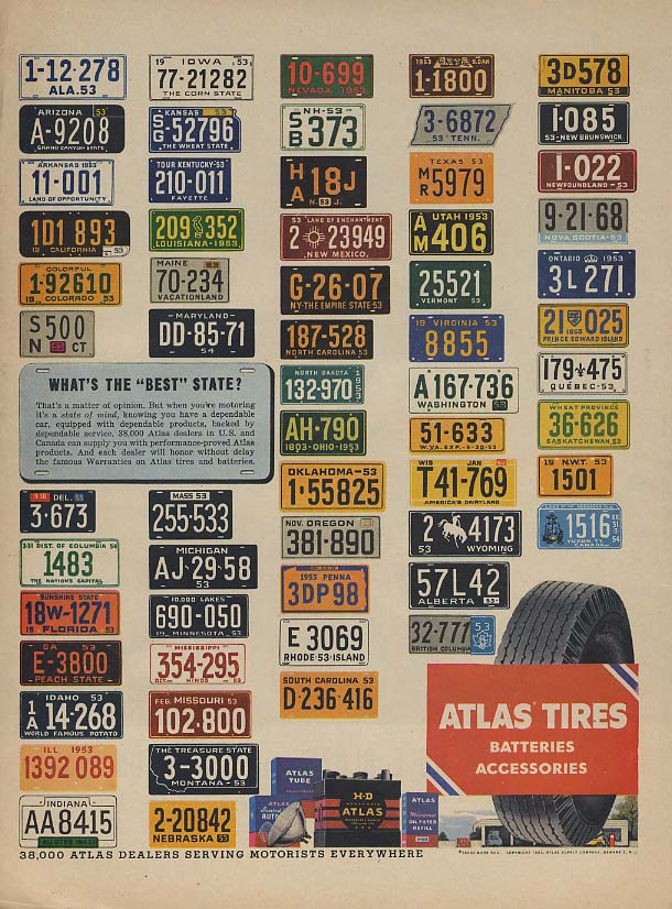 Image for What's the best state? Atlas Tires license plate ad 1953 L